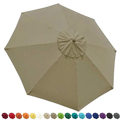 EliteShade 9ft Patio Umbrella Market Table Outdoor Deck Umbrella Replacement Canopy (Khaki-13)
