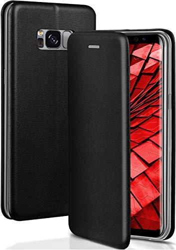 ONEFLOW Handyhülle kompatibel mit Samsung Galaxy S8 - Hülle klappbar, Handytasche mit Kartenfach, Flip Hülle Call Funktion, Klapphülle in Leder Optik, Schwarz