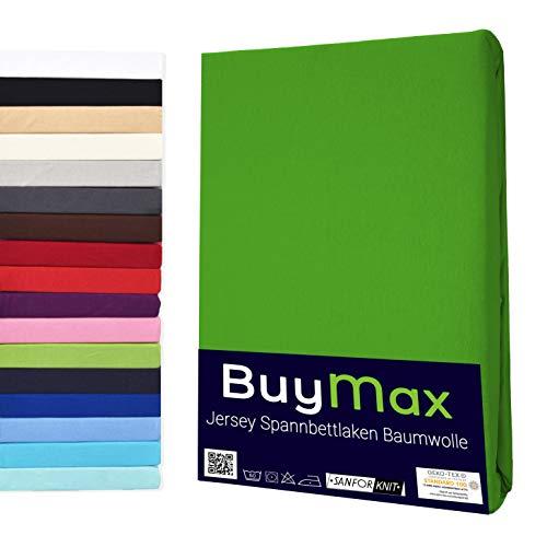 Buymax Spannbettlaken 140x200-160x200 cm Spannbetttuch Bettlaken 100% Baumwolle Jersey Bettbezug für Matratzen bis 25 cm Steghöhe, Grün Apfelgrün