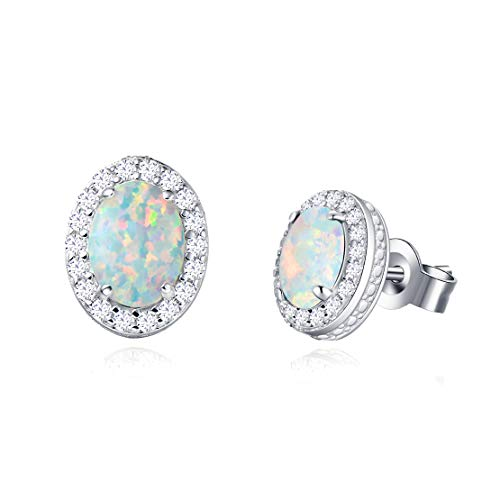 Opalmaster 14K White Gold Plated 925 Sterling Silver CZ Cubic Zirconia/Created Opal Halo Dainty Oval Stud Earrings Jewelry for Women Girls
