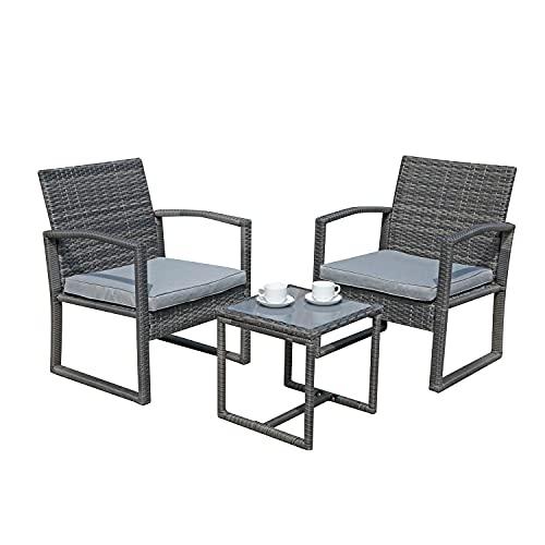 SUNDO Balkonset aus PolyRattan, Balkonmöbel Set mit Sitzkissen, Gartenset mit Sessel & Tisch, Sitzgruppe für 2 Personen, Rattanset (Hellgrau)