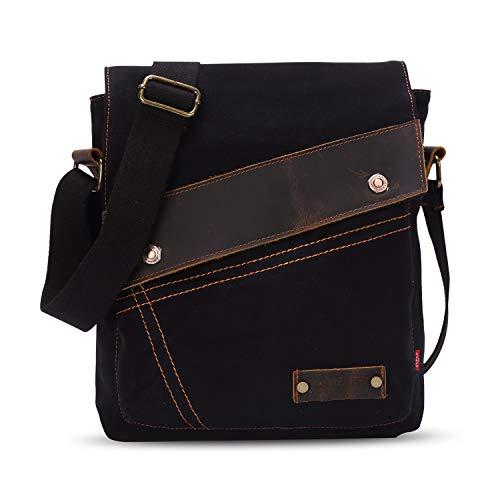 FANDARE Vintage Mensajero Messenger Bag Crossbody Bolso Bandolera Shoulder Bag Estudiante Viaje Trabajo Escuela Bolso Hombre Mujer Lona Negro