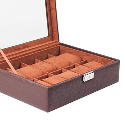 XXSW Caja de exhibición de cuero premium reloj caso 10 ranuras almacenamiento organizador titular colección lujo