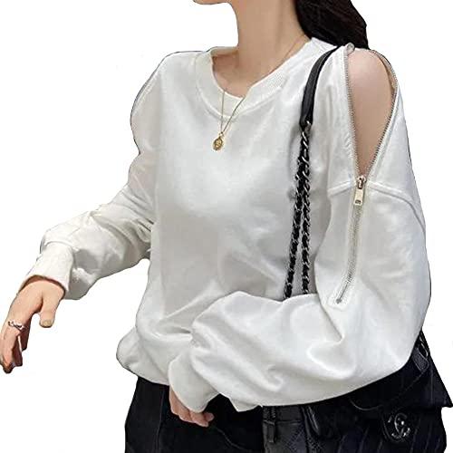 Suéter para mujer, primavera y otoño, con cremallera fina y cuello redondo, sudadera casual y suelta de manga larga, blanco, XXL