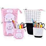 iSuperb 2 Pieces Transformer Pencil Case Stand up Pencil Holder Canvas Cartoon Cute Telescopic Pencil Pouch Zipper Stationery Storage Makeup Bag (2 Pcs Sheep+Grid)