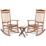 Mupater Outdoor Rocking Chair Set 3-Piece Patio Wooden Rocker Bistro Set with Table and Curved Seat, Teak