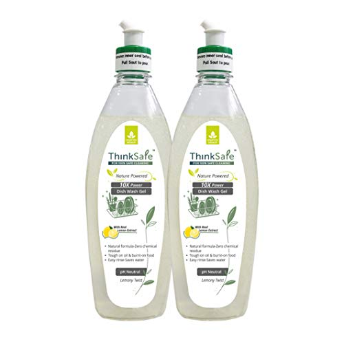 ORGANICA ThinkSafe Natural Dish Wash Gel with Real Lemon Extract & Essential Oils Benefits, 10X Power, Eco-friendly-500ml (Pack of 2)