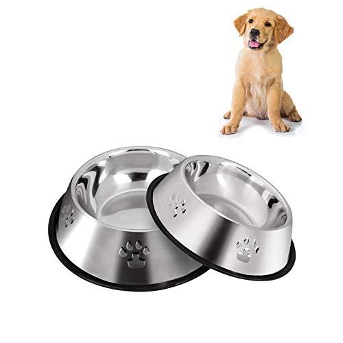 SUOXU 2 Edelstahl Hundenäpfe, Hund Futternapf, Hund Teller Schalen mit rutschfesten Gummiunterlagen, Kleine und Mittlere Futterschale für Haustiere und Wasserschale (18cm/7 Zoll)