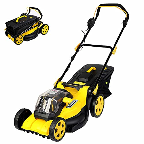 Electric Rotary Lawn Mower, 40cm Cutting Width, 40V Cordless Lawnmower with Battery and Charger, 45L Grass Box, Folding Push Lawn Trimmer