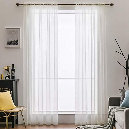 MIULEE 2er Set Voile Vorhang Transparente Gardine aus Voile Polyester Schlaufenschal Transparent Wohnzimmer Luftig Dekoschal für Schlafzimmer Elfenbein 55