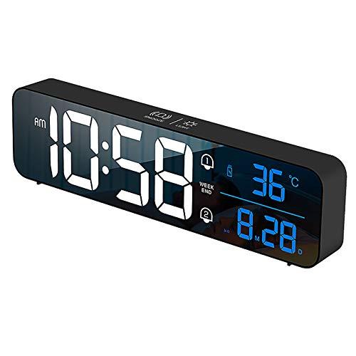 Cargando Espejo Inteligente Música Reloj Despertador Digital Electrónico, Reloj Luz Calendario Perpetuo Digital Activado por Voz, Función De Repetición, para Dormitorio, Oficina en Casa para
