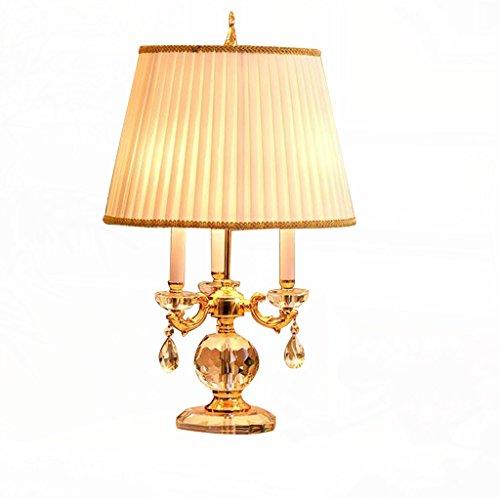 Lampe de bureau européenne Lampe de table de chambre Lampe de table de luxe E14 Lampe de lit de décoration d'étude de source lumineuse (sans source lumineuse)