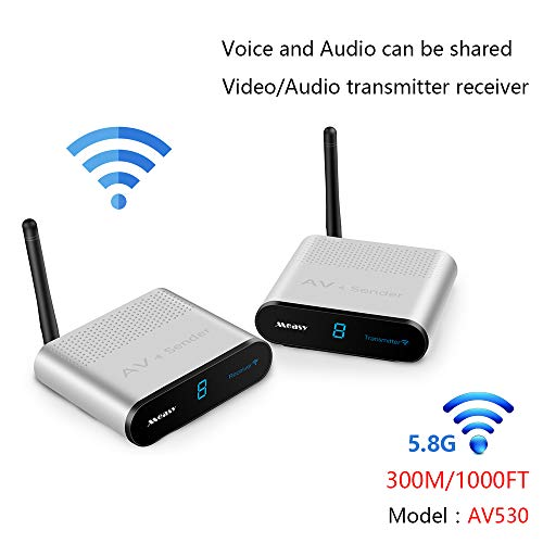 measy AV530 5.8GHz 8 Channel AV RCA Audio Transmitter Wireless Video & Audio Sender Transmitter & Receiver Extender for DVD to TV Wirelessly