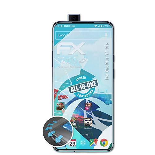 atFolix Schutzfolie kompatibel mit OnePlus 7T Pro Folie, ultraklare und Flexible FX Displayschutzfolie (3X)