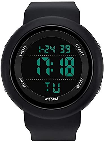 NLRHH Reloj electrónico único para Hombres y Mujeres Sports Display Watch Student Peng Impermeable Impermeable Multifunción a Prueba de Golpes (Color: Rojo Negro) - Completo