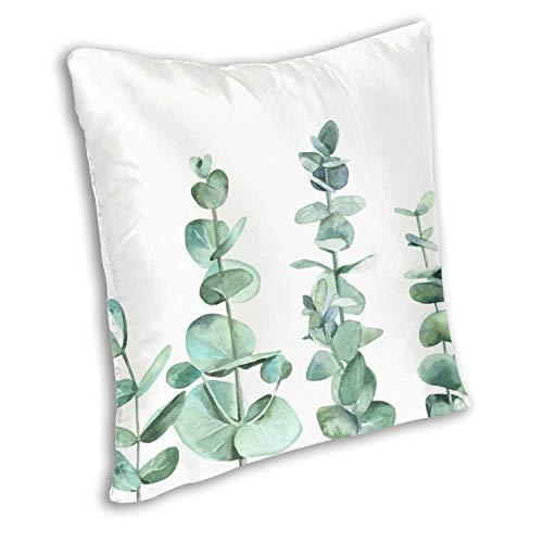 Zanghyu Fundas de cojín con hojas de eucalipto y ramas de color al agua sobre blanco verde industrial, cojín de color pastel, lado de inicio decorativo para sofá o habitación tamaño 22 x 22 pulgadas