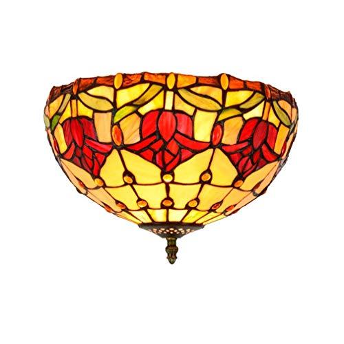 Tiffany-stijl hanglamp met gekleurde glazen scherm, decoratieve hanglamp tulpe rood 30 cm voor hal, eetkamer, E26, Max60wx 2