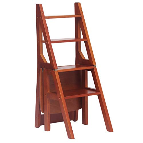 SZQ-vouwen stappen massief hout vier-staps ladder, klimmen ladder frame volledig geïsoleerd multifunctionele ladder kruk kinderstoel/familie eetkamerstoel/artikel plaatsen rack ladders