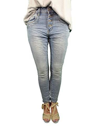 Jewelly Baggy Stretch jeans denim broek open knoopsluiting glitter steentjes