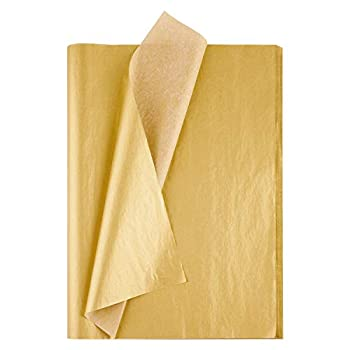 MIAHART 50 Sheets Metallic Gold Tissue 20X14 Inch Gift Wrap Paper Bulk Gift Wrapping Accessory Wrap for Wedding Birthday Party Favor Decor DIY Fringes Shredded Fill Confetti  Gold