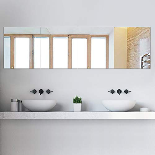 PexFix Full Length Mirror Frameless Mirror, 12inch X 16inch Wall Mirror 4-Piece Set Free Combination Rectangular Glass Flat Mirror Tiles Decoration Mirrors for Bathroom, Livingroom or Bedroom