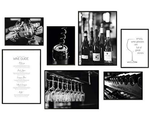 Hyggelig Home Premium Poster Set - 7 passende Bilder im stilvollen Set als Wohnzimmer Deko - Collage Wand Bild Küche Wein - 3 x DIN A3 + 4 x DIN A4 - Set Wein ohne Rahmen