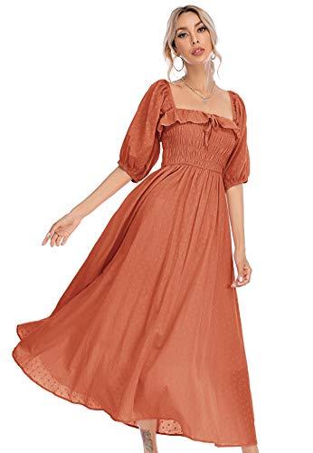 R.Vivimos Women Summer Half Sleeve Cotton Ruffled Vintage Elegant Backless A Line Flowy Long Dresses (X-Small, Orange-1)