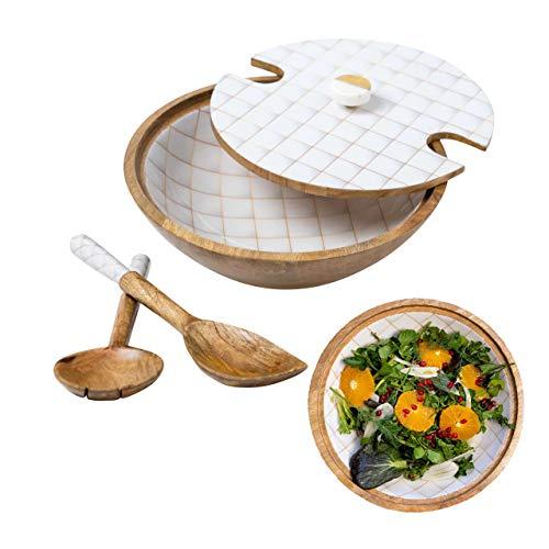 Decorative Wooden Salad Bowl Set White & Gold, mango wood salad bowl with servers & lid, large wood fruit bowl, wooden salad bowl sets, wood bowl with server, wood bowl for food, Wooden Bowls with lid