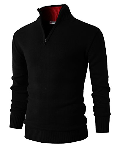 H2H Mens Casual Basic Pullover Sweater of Neck Zipper Black US 3XL/Asia 4XL (KMOSWL021)