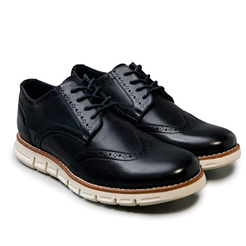 NINE WEST Mens Wingtip Shoes | Casual Dress Shoes for Men | Lightweight Lace Up Mens Oxford Shoes | Fashion Shoes for Men with Deep Grooves in Outsole Mimics Natural Motion of Foot – Garnet Navy-10