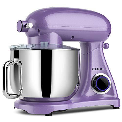 COOKLEE Stand Mixer 800W 85Qt Kitchen Mixer with DishwasherSafe Dough Hooks Flat Beaters Whisk amp Pouring Shield SM1522NM Lavender