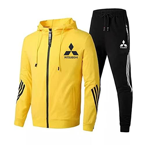 SPONYBORTY Herren Trainingsanzug Jogging Anzug Mitsu-bishi Sportanzug Kapuzen Zip Jacke + Hose Mantel/Gelb / 3XL sponyborty
