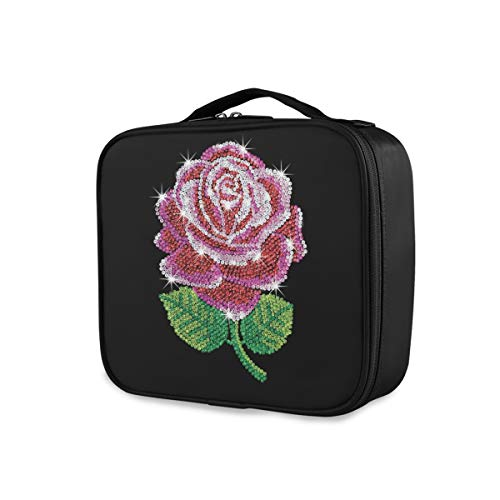 Sac de maquillage de stockage portable Shining Flower Cute Tools Cosmetic Train Case Travel Toiletry Pouch