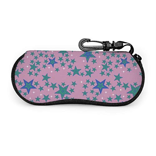 Seamless Stars Pattern Background Sunglasses Case Soft Ultra Light Portable Zipper Eyeglass Case Versatile Neoprene Customized