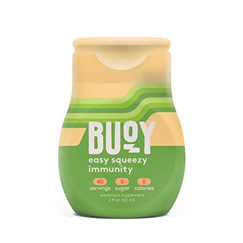 Buoy + Immunity   All Natural Electrolytes + Vitamins A, B, C, D, E + Zinc + Elderberry, Echinacea, Ginger Root   40 Servings   No Sugar, No Calories   Make Any Drink More Hydrating + Immune Boosting
