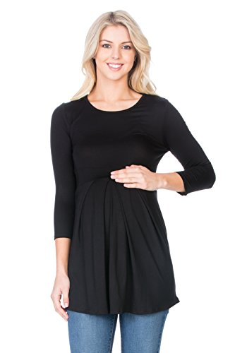 My Bump Women's 3/4 SLV Front Pleated Maternity Top(Made in USA) (Medium,...
