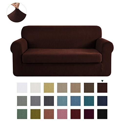 CHUN YI Stretch Sofa Slipcover 2-Piece Couch Cover Furniture Protector, Settee Coat Soft with Elastic Bottom, Checks Spandex Jacquard Fabric, Large, Chocolate
