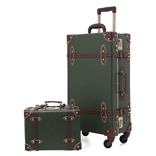 urecity Vintage Set Valigie Viaggio 2 pezzi con Blocco Password Lusso Carino Retrò Valigia Trolley con Asta Telescopica (Esercito verde, 26 (66 x 38 x 23cm)&12 )