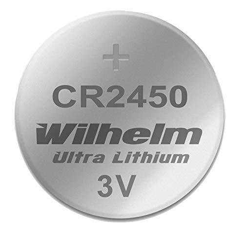 1 x CR2450 WILHELM Lithium Knopfzelle 3V 600mAh ø24,5x5,0mm Batterie DL 2450