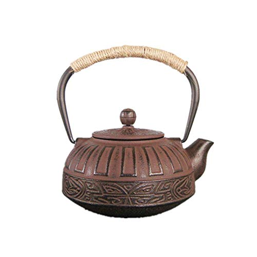 Gusseisernen Teekessel Teekanne, Haushalt Teekanne Vintage, Eisen Teekanne Tee-Kessel-Topf Teegeschirr, Tee-Haus Zubehör (Brown) Eisenmetall Teekanne,Braun