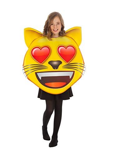 Generique - Disfraz Emoji Gato con Ojos de corazón niño Talla única