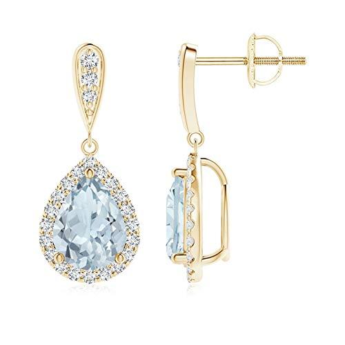 Orecchini pendenti con acquamarina a pera con diamante (acquamarina 8 x 6 mm) e Oro giallo, cod. ANG-E-SE1151AQD-YGN-A-8x6