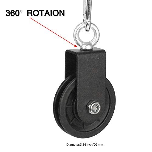 LFJ 3.54 in/90 mm Cable Pulley 360 Degree Rotation Traction Wheel for LAT Pulley System DIY Attachment Lifting Blocks,hoists,Ladder Lift, Gym Equipment, DIY Home Projects, Clothesline, Shop Lifts (4)