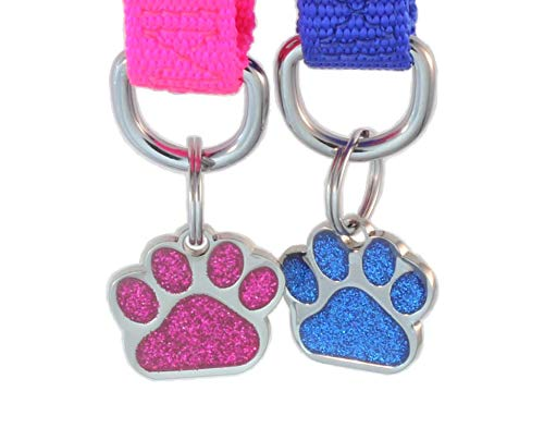 Laser Etched Glitter Paw Pet ID Tags Custom Personalized
