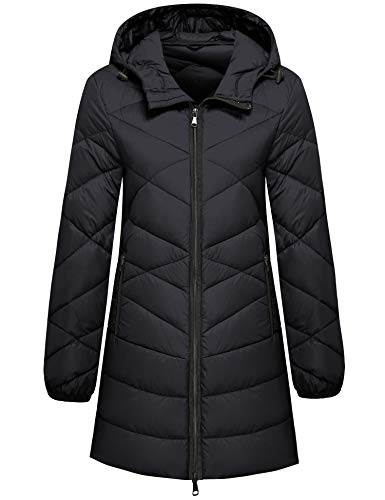 Womens Thicken Lightweight Black Puffer Down Jacket Coat