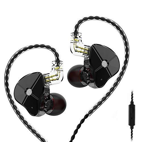 TRN ST1 IEM Auriculares Hibridos 1BA 1DD Audifonos TRN 1 Balanceados Armadura y 1 Dinámica con Cable Desmontable de 0.75 mm 2pin(Negro con Mic)
