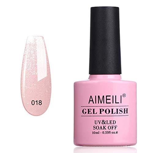 AIMEILI UV LED Gellack Gel Nagellack Rosa Glitzer Gel Polish - Sparkle Grapefruit (018) 10ml