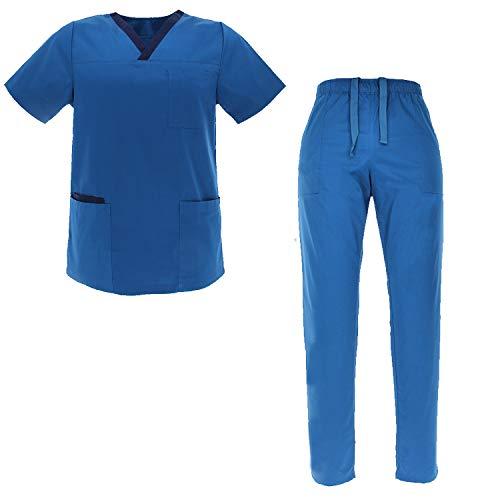 MISEMIYA - Uniformi Unisex Set Camice ? Uniforme Medica con Maglia e Pantaloni Uniformi Mediche Camice Uniformi sanitarie - Ref.G7134 - XX-Large, Set Sanitari G713-37-Blue