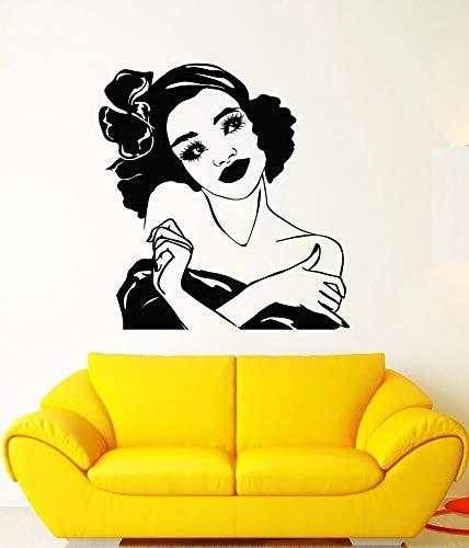 wZUN Calcomanías de Vinilo para Pared, niña Africana, Peinado, Retro, Cara de Mujer, Pegatinas de Maquillaje, decoración del hogar, Papel Tapiz 63X67cm