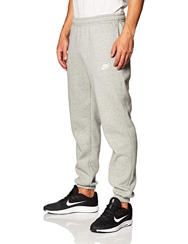 Nike Uomo M NSW Club Pant CF BB Pantaloni, Dk Grey Heather/Matte Silver/White, L